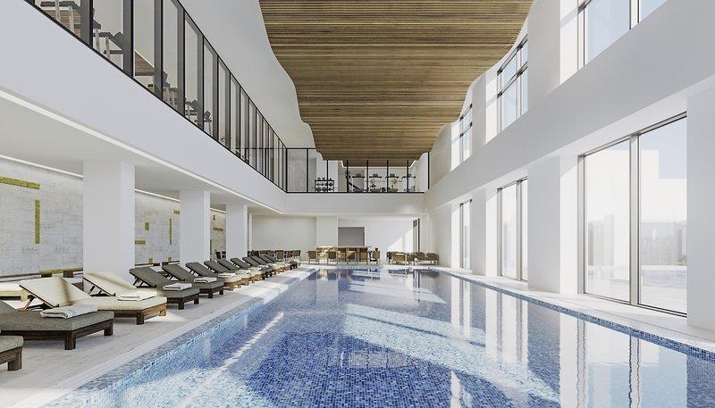 Schwimmen Innenraum Ansicht von Oben Lounge und Pool Ansicht von Oben Luxus Hotelzimmer dekoriert mit Terrasse BANYAN TREES SCHWESTERMARKE ANGSANA.