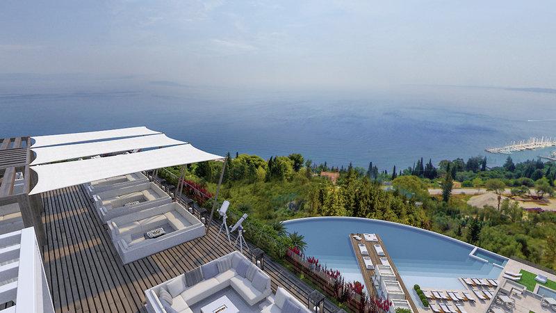 Ansicht von Oben Luxus Hotelzimmer dekoriert mit Terrasse BANYAN TREES SCHWESTERMARKE ANGSANA Korfu